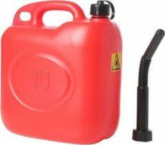 Merkloos / Sans marque Jerrycan/benzinetank 10 liter rood - Voor diesel en benzine - Brandstof jerrycans/benzinetanks