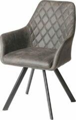 Antraciet-grijze Furn4All® Dewi Armstoel - Eetkamerstoel - Kuipstoel - Designstoel - Vintage - Met Armleuning - Stof - Antraciet