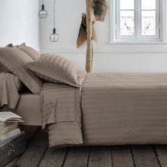 Taupe La Redoute Interieurs Bettbezug mit Webstreifen, Baumwoll-Satin