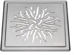 Roestvrijstalen Afvoerrooster Smedbo Outline Met Kroonpatroon 20 x 20 x 0.55 cm Geborsteld RVS