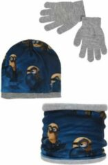 Minions - Winterset - Muts, Buff & Handschoenen - Donkerblauw & Grijs - 54 cm - 100% Acryl