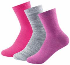 Devold - Daily Light Kid Sock 3-Pack maat 28-30 roze/grijs