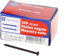 HJZ Stalen nagels blauw bolkop 3.0x60mm 100 stuks