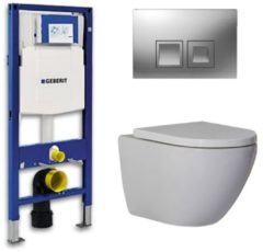 Douche Concurrent Geberit Up 100 Toiletset - Inbouw WC Hangtoilet Wandcloset - Shorty Delta 50 Mat Chroom