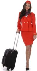 Karnival Costumes Verkleedkleding - Stewardess - Maat L (Rood)