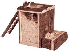 Bruine Trixie natural living speel- en graaftoren hamster 25x20x24 cm