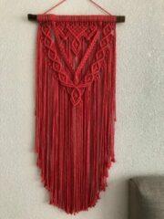 Macramey Muurdecoratie - macrame - macramé - 192 watermeloen roze - handgemaakt - knopen - touw - wanddecoratie, wandkleed