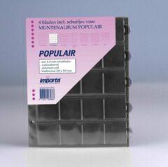 Transparante Importa POPULAIR muntbladen incl. schuifjes, 4 stuks 20-vaks met zwarte schutbladen, geschikt voor 80 munten