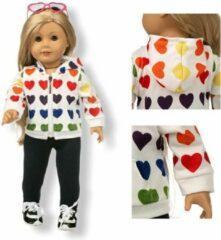 Isa's Friends Poppenkleding meisje - Baby Born kleertjes o.a. - Poppenkleertjes 43 cm - Wit jasje met hartjes en broekje