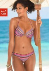 Roze Homeboy push-upbikinitop Kuba met elegante streepprint