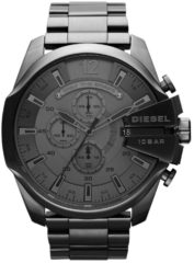 Zwarte Diesel horloge Mega Chief DZ4282 zilverkleur