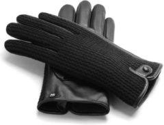 Zwarte Napogloves NapoWOOL - Echt lederen touchscreen handschoenen | Blauw | Maat M