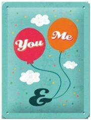 Turquoise Nostalgic Art Merchandising Metalen Plaat You and Me 15 x 20 cm