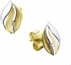 Goudkleurige Huiscollectie TFT Oorknoppen Diamant 0.02 Ct. Bicolor Goud Glanzend 10.5 mm x 7 mm