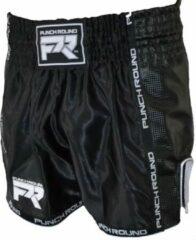 Punch Round™ Kickboks Broekje Matte Carbon Zwart Wit XXS = Jeans Maat 26 | 6 t/m 8 Jaar