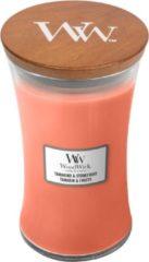 Oranje Woodwick Tamarind & Stonefruit kaars groot