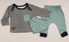 Merkloos / Sans marque Baby, 3 stuks, baby kleding jongens, baby kleding meisjes, babykledingset, babypakje, babycadeau, baby jogging, baby born, baby broekje, baby top, baby slab, comfortabel, %100 katoen, zacht, kleurrijk, blauw, marineblauw, 9-12 maand
