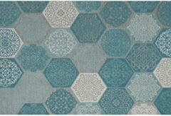 Grijze Garden Impressions Buitenkleed Hexagon turquoise 200x290 cm