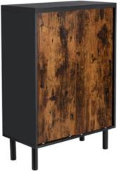 MIRA Home - Schoenenkast - Schoenenkast met deuren - Industriële stijl - Spaanplaat/Metaal - Zwart - 70x35x100