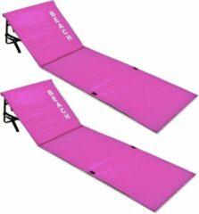 Merkloos / Sans marque Set strandmatten roze, 2x, met rugleuning, roze, strand bed, ligbed