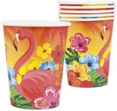 Partywinkel Hawaii Bekers Flamingo 250ml 6 stuks