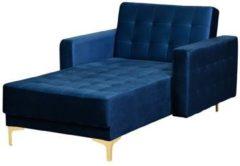 Blauwe Beliani Aberdeen Chaise Longue Fluweel 168 X 107 Cm