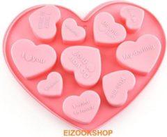 EIZOOKSHOP Hart vorm - met Romantische Teksten - Chocolade - Fondant - Cake - Roze