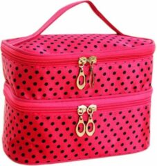 AA Commerce Polka Dot Make Up Tasje Met Spiegel - Opberg Etui / Cosmetica Organizer Reis Tas Case