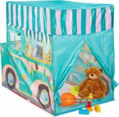Relaxdays speeltent ijscowagen - kindertent pop up - speelhuis buiten - speelhuisje binnen