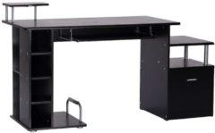 Computertisch in Nussbaum-Nachbildung HOMCOM schwarz