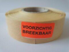 """Merkloos / Sans marque Sticker met """"Voorzichtig Breekbaar"""" erop - Formaat: 40 x 20 mm - Materiaal: rood radiant"""