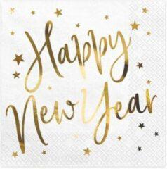 Zwarte Partydeco Poland Servetten Happy New Year (20 stuks)