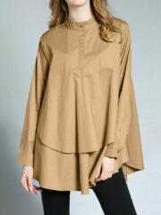 Newchic Fashion Ruffled Hem Patchwork Long Sleeve Doll Plus Size Blouse
