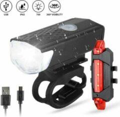 Zwarte WSI Waterdichte oplaadbare fietslamp voor en achter - 300 lumen - Superfelle fietsverlichting met USB-kabel - Combi deal