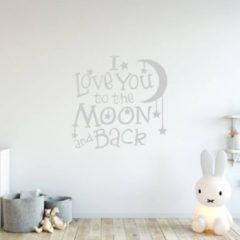 Muursticker I Love You To The Moon And Back - Zilver - 120 x 120 cm - baby en kinderkamer - Muursticker4Sale