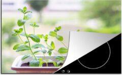 KitchenYeah Luxe inductie beschermer Pepermunt - 78x52 cm - Verse pepermunt op de vensterbank in een bloempot - afdekplaat voor kookplaat - 3mm dik inductie bescherming - inductiebeschermer
