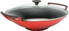 LE CREUSET - Gietijzer - Gietijzeren wok Kersenrood met glaz