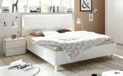 Pesaro Mobilia Tweepersoonsbed Perez 160x200cm in mat wit met hoogglans wit