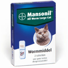 Mansonil All Worm Tablet Cat - Anti wormenmiddel - 2 tab 1 Tab Per 6 Kg Large