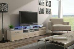Maxima House EVORA Hoogglans TV Meubel - Inclusief LED - Wit / Beige- 195cm - Modern Design