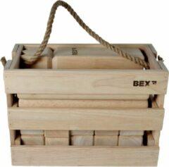 Bruine Bex Kubb Viking Original Rubberhout In Houten Kist