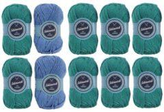 Häkelset Kuschelschal grün-blau, 600 g Wolle