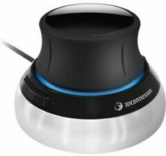 3Dconnexion SpaceMouse Compact 3D-muis Kabelgebonden Optisch Zwart, Zilver