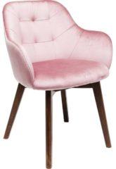 Kare Design Lady Stitch Stoel - Fluweel Roze - Bruine Houten Poten