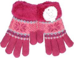 Merkloos / Sans marque Gebreide winter handschoenen fuchsia roze fuchsia roze met pluch