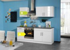 HELD Möbel Küchenzeile Nevada 210 cm Hochglanz weiß - inkl. E-Geräte