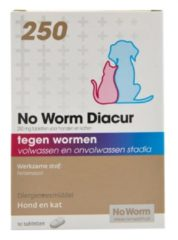 No Worm Diacur 250 Hond En Kat - Anti wormenmiddel - 10 tab