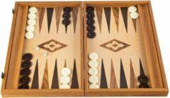 Manopoulos Eik-Walnoot Replica Backgammon met zijrekken - 48 x 30 cm Top Kwaliteit