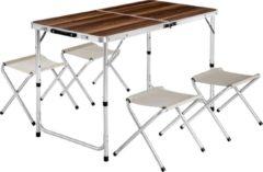 TecTake - Campingtafel koffertafel met 4 krukken inklapbaar - 402403