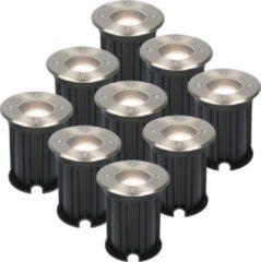 Roestvrijstalen HOFTRONIC™ 9x Maisy dimbare LED grondspot rond RVS 5W 4000K IP67 straal waterdicht 3 jaar garantie